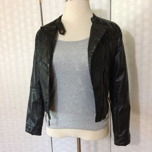 Faux Pu Black Leather Motto Jacket Medium NiCe!